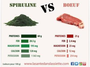 Spiruline VS Boeuf