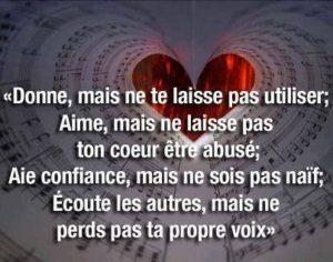 Donne, Aime, Aie Confiance, Ecoute...